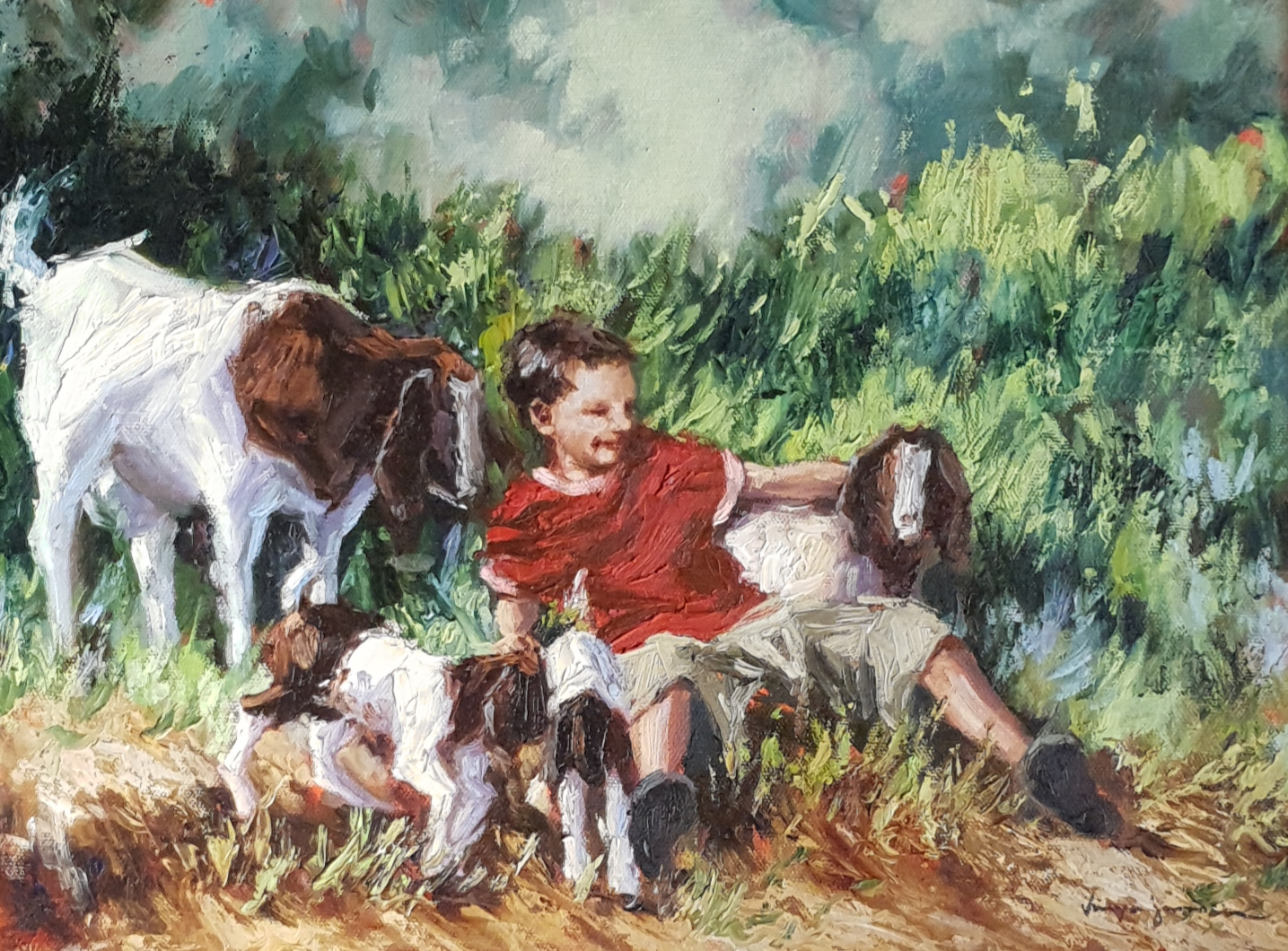 tanya boy with goats