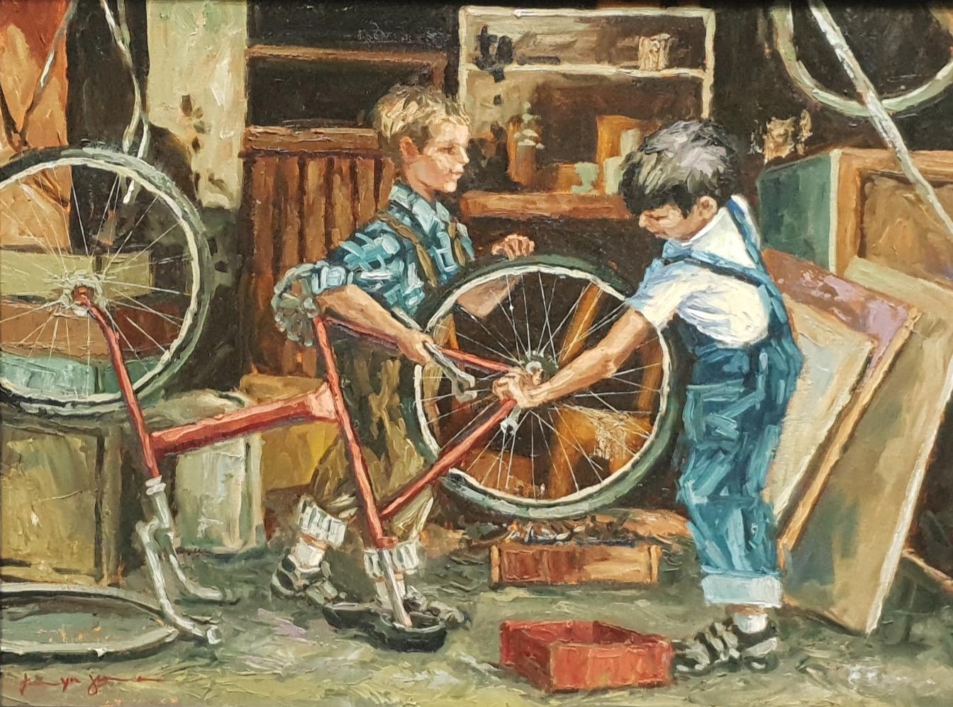 tanya jansen fixing the bike